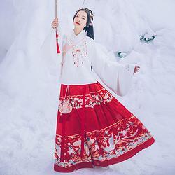 汉尚华莲如意锁传统汉服米白色明制绣花交领上袄加绒保暖日常秋冬