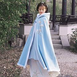 无衣饮羽秋墨离传统汉服女刺绣粉蓝连帽兔毛加厚日常保暖长款秋冬