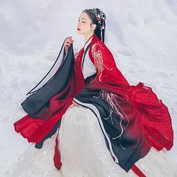 汉尚华莲传统汉服女装赤魂凤凰珠绣大袖褙子红黑渐变外披秋冬
