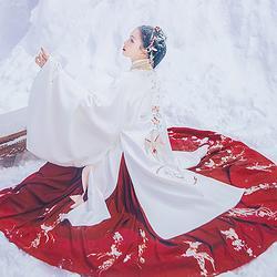 汉尚华莲孤芳传统汉服女装绣花华丽披风外套中长款日常加厚保暖冬