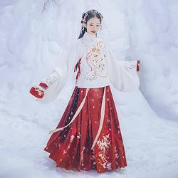 汉尚华莲昭阳传统汉服重工刺绣深红色马面裙下装日常款秋冬款褶裙