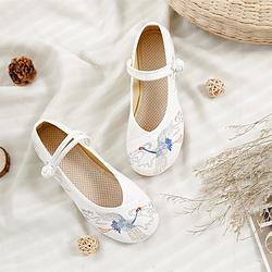 汉服周边搭配 中国风 绣花布鞋 软底小坡跟女单鞋