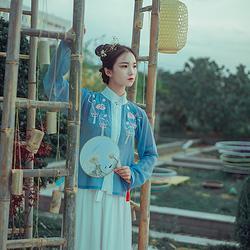 【簇蕊】原创传统汉服日常防晒立领襦裙两件套春夏秋汉服现货