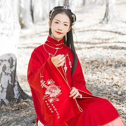 汉尚华莲传统汉服绛月吟绣花红色立领斜襟长袄女装上衣服饰日常冬