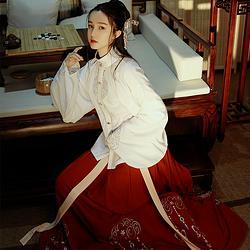 黎落阁呜玉鸾日常改良汉元素女装绣花明制立领琵琶袖上衣齐腰下裙