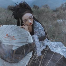 采梦集 玄姬 原创日常个性汉服暗黑绣花对襟齐腰齐胸叠穿大袖衫