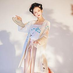 黎落阁送春传统日常汉服女装绣花长褙子吊带改良宋裤中国民族风秋