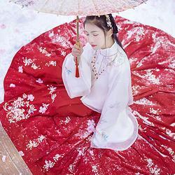 汉尚华莲传统汉服女装日常百搭秋冬双层朦胧立领袄裙上袄白雪色