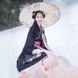 汉尚华莲传统汉服女装大袖交领襦裙双层齐腰折扇刺绣秋冬款日常