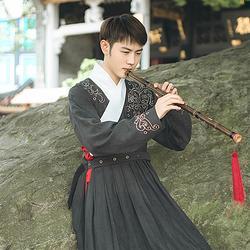 汉尚华莲传统汉服男装中国风日常秋冬款龙纹刺绣贴里帅气