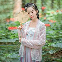 汉尚华莲传统汉服夏装女粉色上衣花莳褙子外层蕾丝搭配日常款褶裙