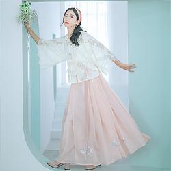 汉尚华莲沉香屑汉服女装夏季改良马面裙萌兔刺绣两色日常搭配襦裙