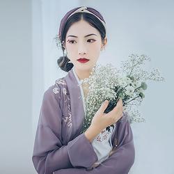 汉尚华莲传统汉服女装锦花香浅紫色褙子花枝刺绣搭配宋裤日常夏装
