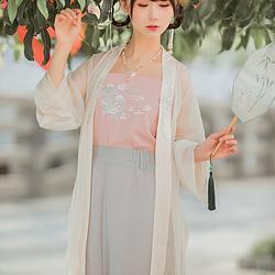 她说汉服云初原创设计日常汉服女款绣花长褙子(单件褙子)