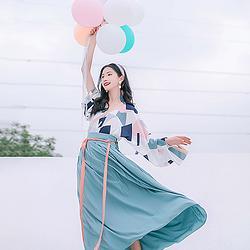 汉尚华莲传统汉服女装白竺时尚风齐腰格子交领襦裙清新日常华服夏