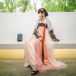 汉尚华莲日常时尚款黑澈传统汉服女装高腰窄袖齐胸襦裙搭配半臂夏