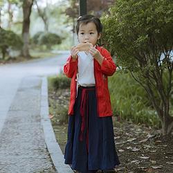 彧卿轻奢原创设计 中国美学童装山海经系列儿童校服绣花三件套