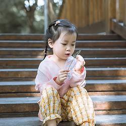 彧卿轻奢原创设计 男女童汉元素绣花家居服童装刺绣苎麻长袖衬衫