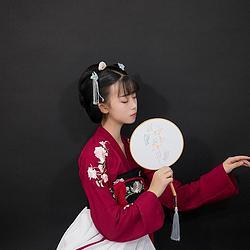 【玉芝瑛—花未语】原创传统汉服齐胸襦裙酒红白色 现货
