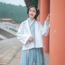 汉尚华莲传统汉服女装日常秋冬褙子对襟褙子花朵刺绣搭配交领襦裙