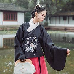 汉尚华莲传统汉服女装迟花摇绣花交领袄裙琵琶袖套装日常冬款加厚