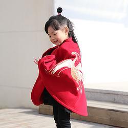 彧卿轻奢原创设计 现货冬季童装绣花保暖双面呢斗篷手工毛呢外套