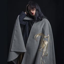 彧卿轻奢原创设计 现货 春秋季百搭精致绣花成人斗篷双面呢外套