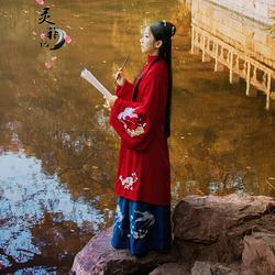 灵菲记【四季花】原创汉服女冬装刺绣立领长袄袄裙传统汉服齐腰裙