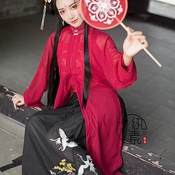 【立秋】纨素 红色立领纱衫闺门批黑色松鹤绣花褶裙套汉服