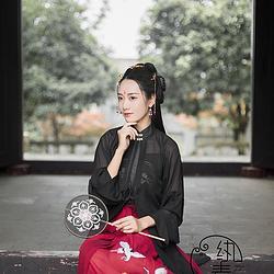 【立冬】 纨素 黑色立领纱衫闺门批红色松鹤绣花褶裙套汉服非古