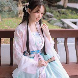 钟灵记【绯烟】日常汉服女对襟上襦改良齐腰襦裙吊带中国风春夏秋