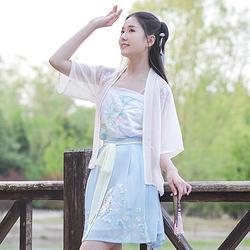 钟灵记【离落】半臂短裙少女改良春夏装现代汉服学生日常汉服元素