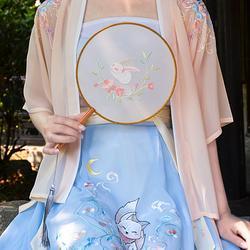 钟灵记汉服【玉兔】绣花团扇刺绣古典中国风扇子中式古风半透明绢