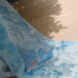 钟灵记【山水批帛】古风雪纺披帛飘带女配齐胸裙齐腰坦领汉服配饰