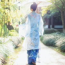 钟灵记清岚调汉服女竖领对襟立领纱衫广袖主腰齐腰裙大袖衫春夏秋