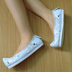 内增高【仙鹤弓鞋】千层底绣花鞋汉服配饰民族风蓝布鞋女鞋翘头鞋