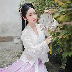 花语蝶  观其赋 原创传统汉服对襟上襦齐腰襦裙套装三件套
