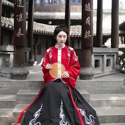 丹墨  观其赋原创传统汉服女 立领琵琶袖上襦 一片式穿孔下裙