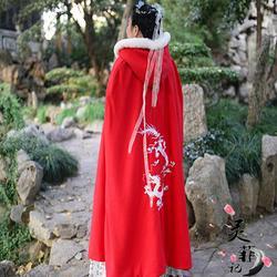 灵菲记【九万里】原创汉服斗篷女冬季绣花加厚大红色斗篷黑色刺绣
