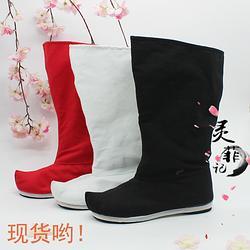 秋冬新款汉服男女弓鞋翘头靴子汉服配饰鞋千层底皂靴传统靴子圆领