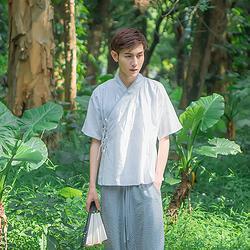 汉尚华莲传统汉服男装交领上衣幻辰文字刺绣半臂夏季薄款短袖四色