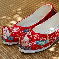 钟灵记【凤尾鱼】汉服弓鞋女内增高古风红色婚鞋绣花坡跟鞋翘头鞋