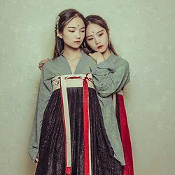 红鸾-天喜 原创日常绣花汉服双子星正反两穿齐胸襦裙闺蜜基友姐妹