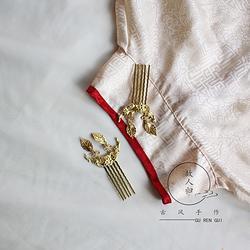 故人归古风手作金色发梳插梳古风饰品简单日常汉服配饰【瑞年】
