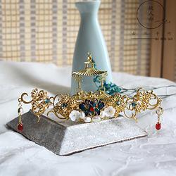 故人归古风手作古风饰品宫廷发冠女复古发钗子头冠汉服配饰包邮