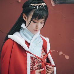 花朝记原创设计刺绣围脖 女汉服百搭日常配饰秋冬保暖毛领多色