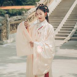 汉尚华莲传统汉服女秋冬折扇珠宝绣花明制呢子披风搭配袄裙保暖
