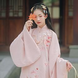 汉尚华莲玉笙寒传统汉服女装金鱼刺绣立领斜襟长袄琵琶袖日常秋冬