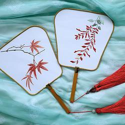 枫叶红雨团扇花朝记原创刺绣兰花团扇宫扇 工艺饰品 汉服拍照道具