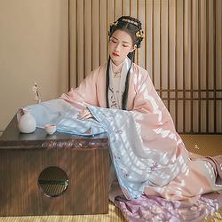 汉尚华莲传统汉服女装溪风调刺绣披风大袖衫冬装加厚日常保暖外搭